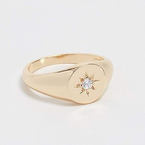 Starburst Signet RING 18k Gold Vermeil NEW